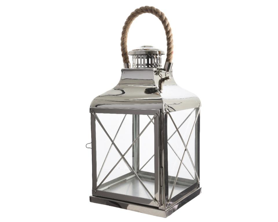 Kaemingk Stainless Steel Lantern - 48cm