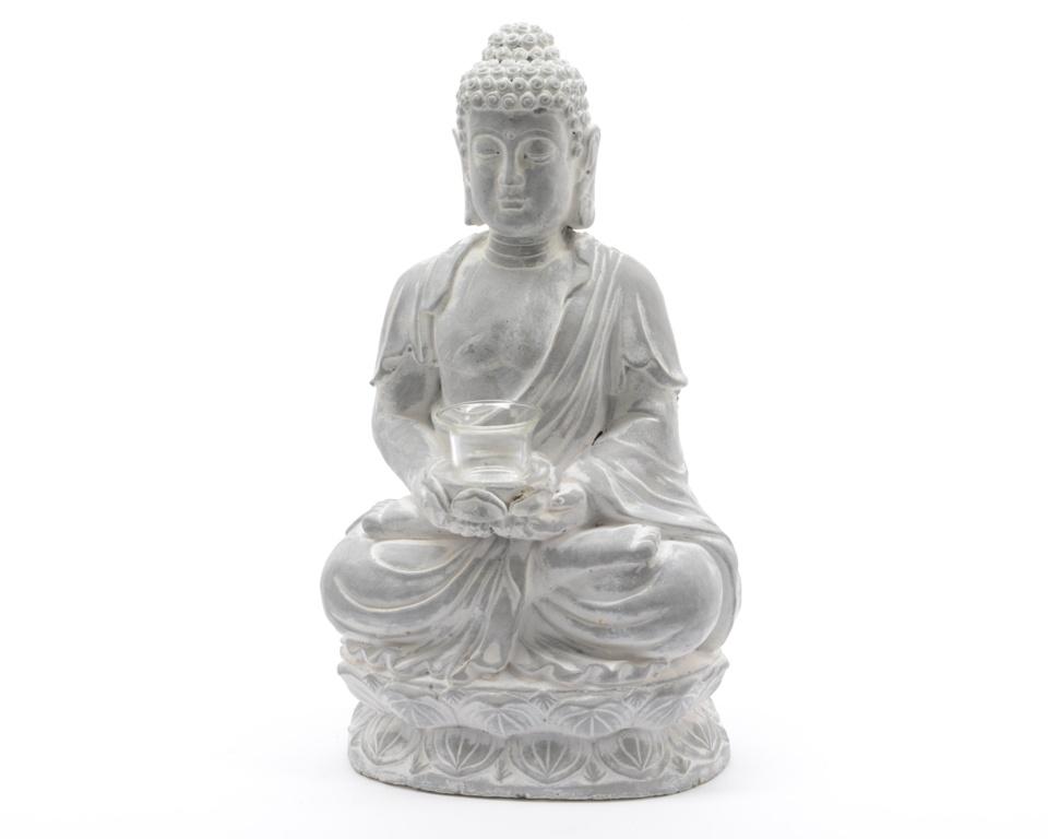 Kaemingk Buddha Tealight Holder With Glass - Grey