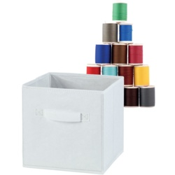H & L Russel Embossed White Foldable Storage Box