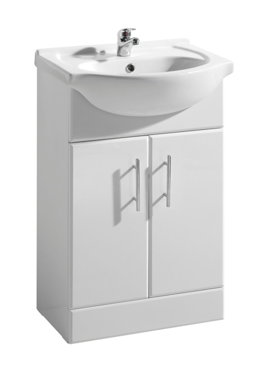 Cassellie Kass White 2 Door Vanity Unit & Basin - 550mm