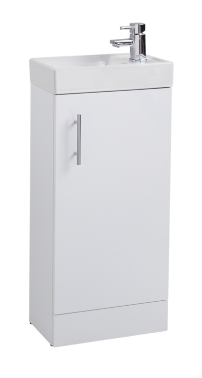 Cassellie Cube White Single Door Cabinet & Basin - 400mm x 220mm