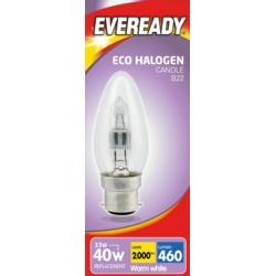 Eveready Eco Halogen Candle 220-240v Clear BC