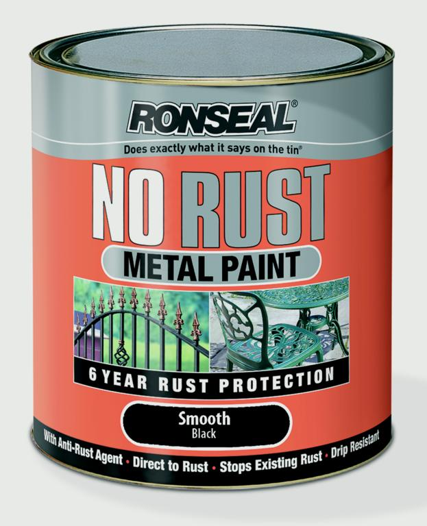 Ronseal No Rust Metal Paint 750ml - Smooth Black