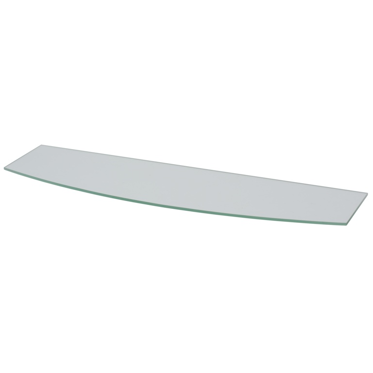 B!organised Bowed Clear Glass Shelf - 80x20
