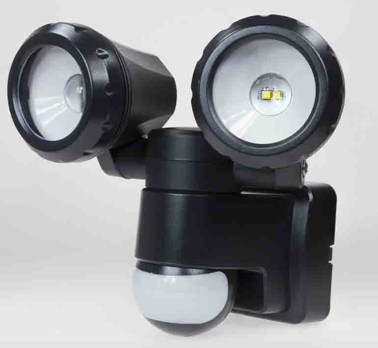 Powermaster LED PIR Twin Spotlight 2x5w IP44 - Black