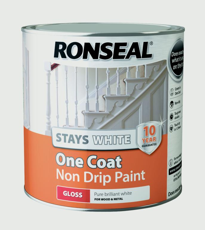 Ronseal stays white one coat non drip paint stax trade for One coat white paint