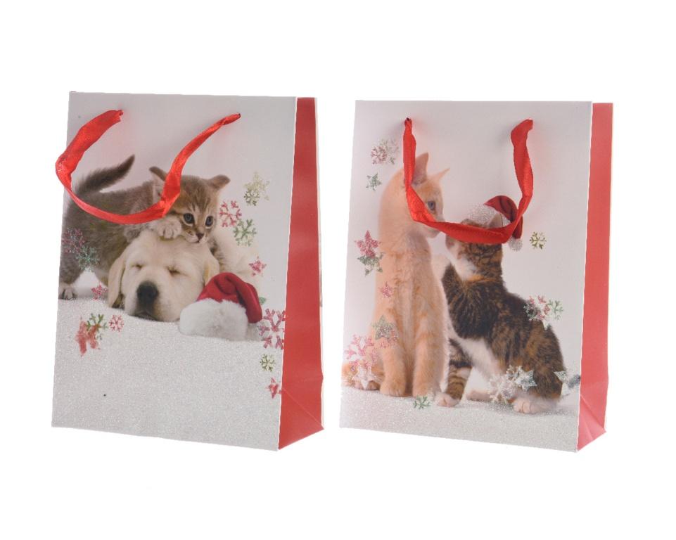 Kaemingk Cat Gift Bag - White & Red