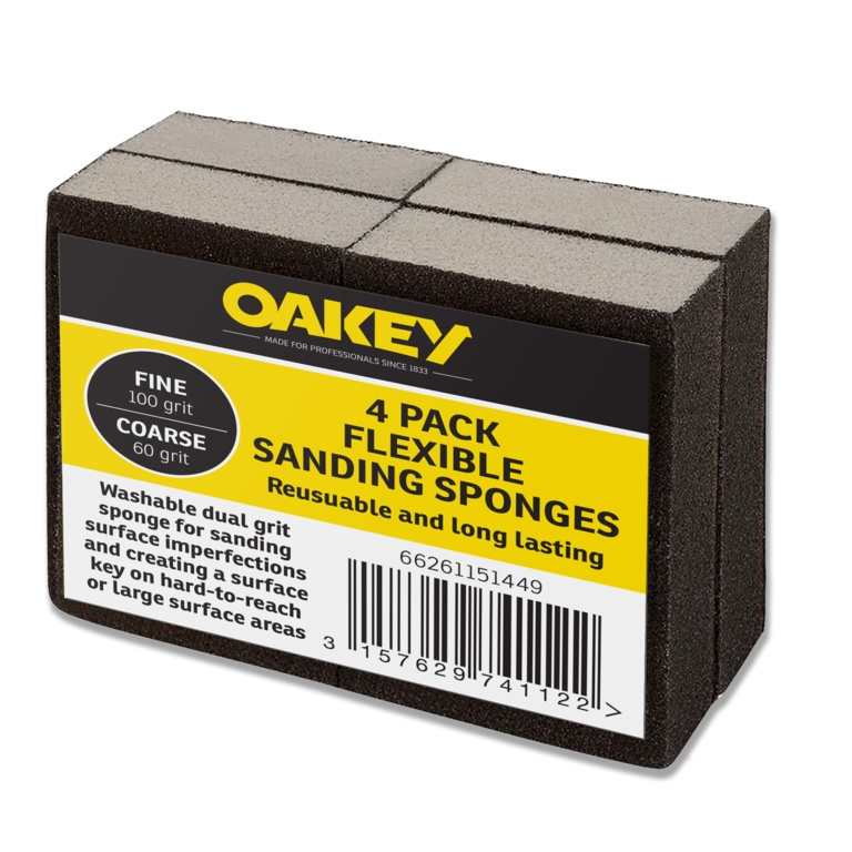 Oakey Liberty Green Flexible Sponges - Fine 100g/Coarse 60g Pack 4