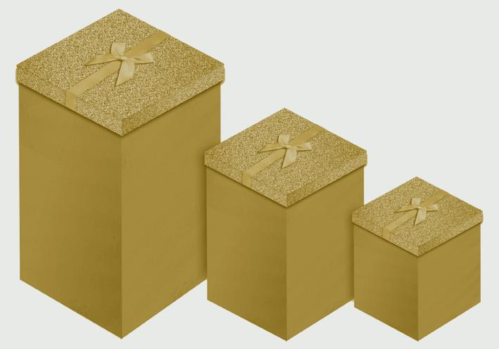 North Pole Gold Glitter 3 Candle Box - 3 piece