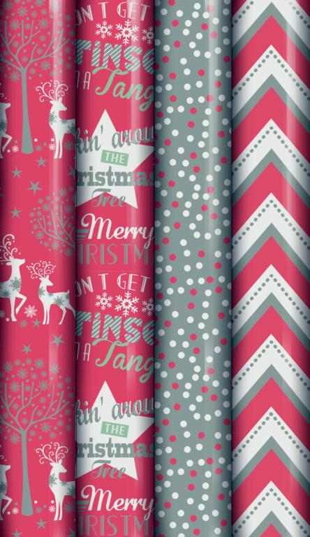 North Pole Red Silver Metallic Wrap - 2m