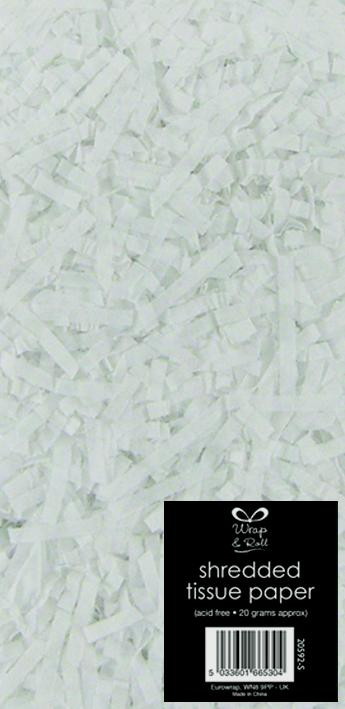North Pole Shredded Tissue Paper White