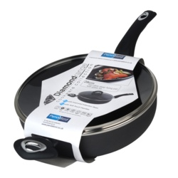Diamond Non Stick Deep Fry Pan With Glass Lid