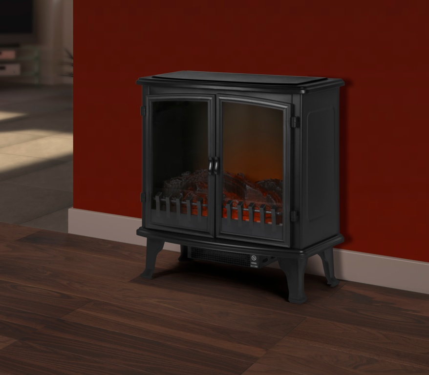 SupaWarm Free Standing Electric Fire With 2 Door & Log - 1800w