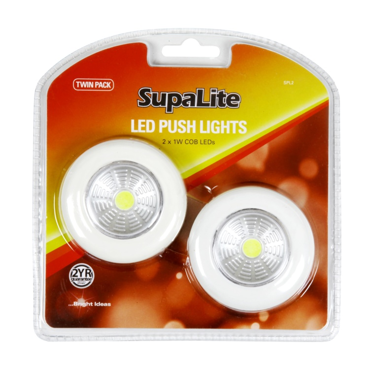 SupaLite LED Push Light - Twin Pack