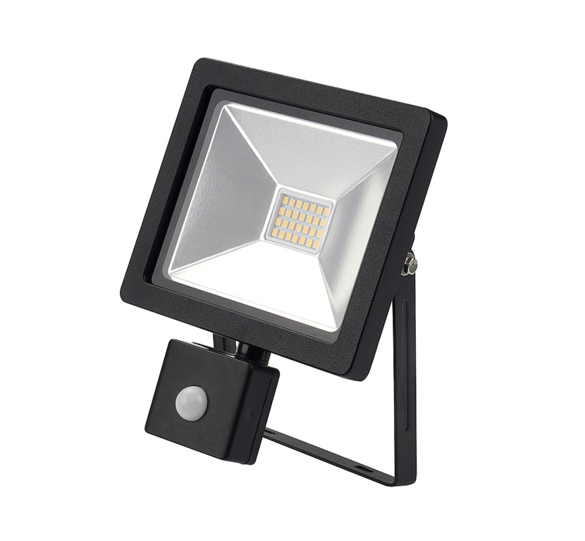 Lyveco LED Slimline Floodlight With PIR - Black 20w 6500K