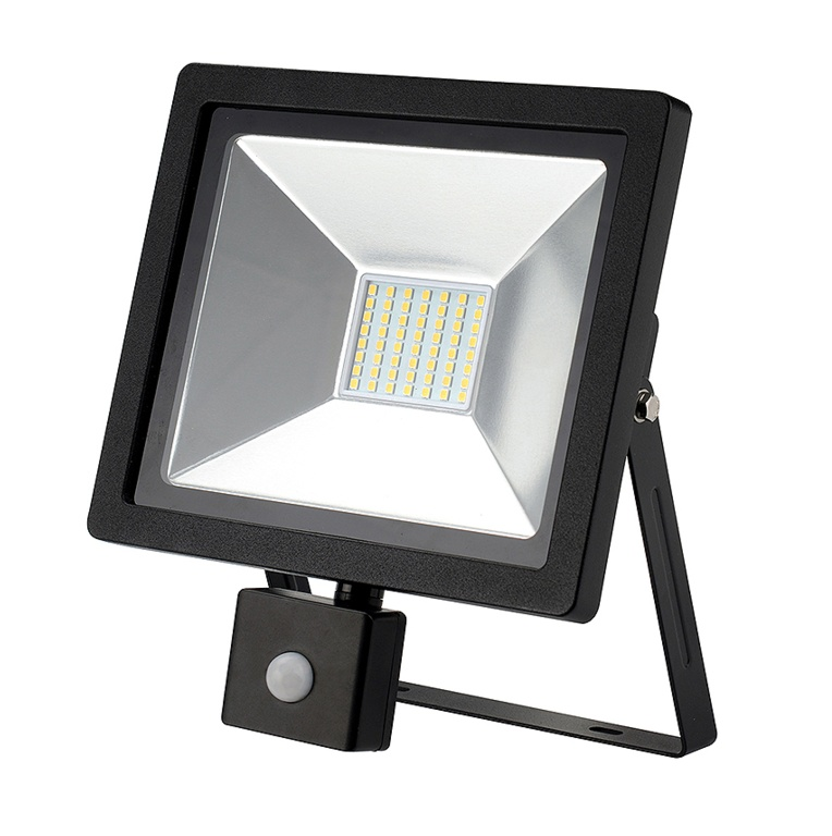 Dencon LED Slimline Floodlight With PIR 2100L - Black 30w