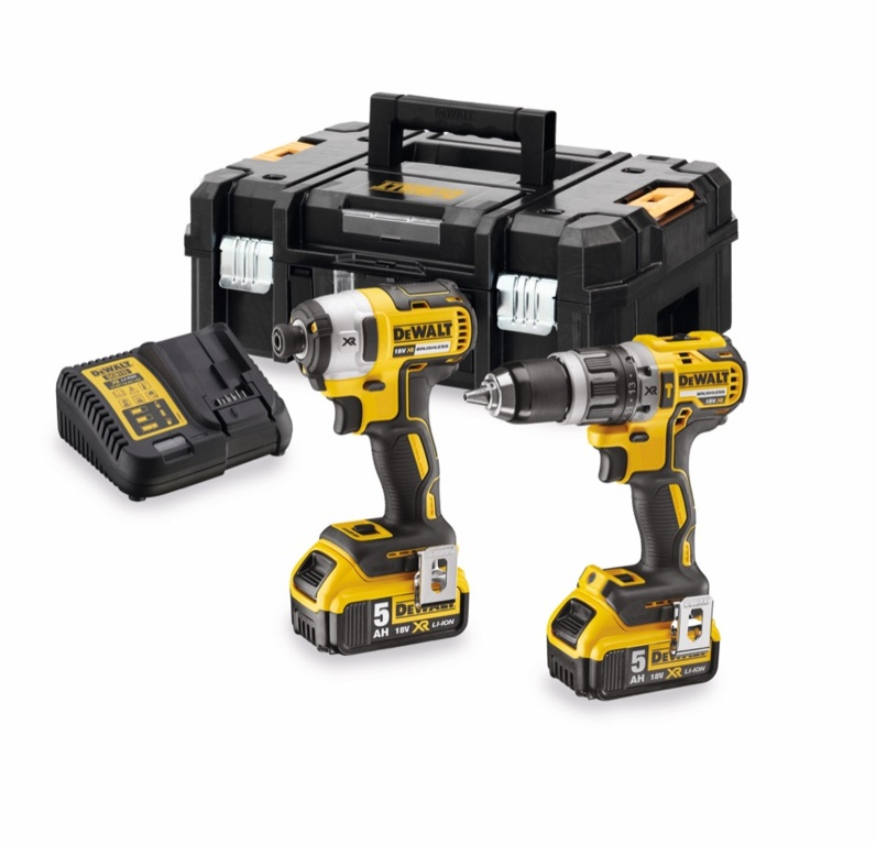 DeWalt 18V Brushless Combi Drill & Impact Driver Kit With 2 x 5Ah Batteries