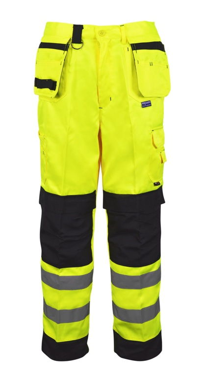 Black Knight Builders Hi Vis Trousers Yellow & Black - 40R