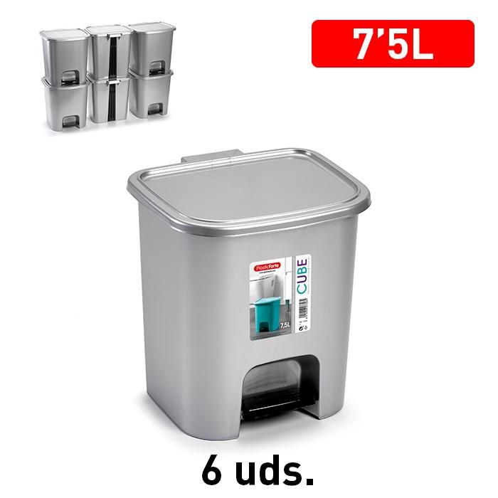 Plasticforte Pedal Bin 7.5L - Silver