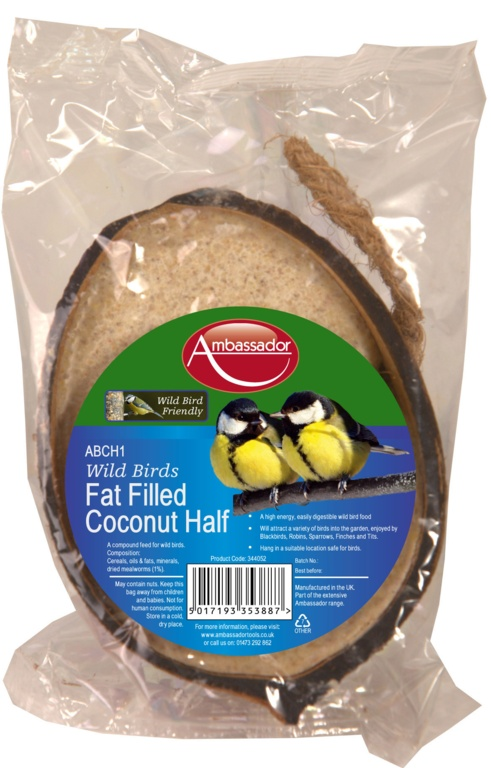 Ambassador Fat Filled Coconut Half Bird Food - 200g