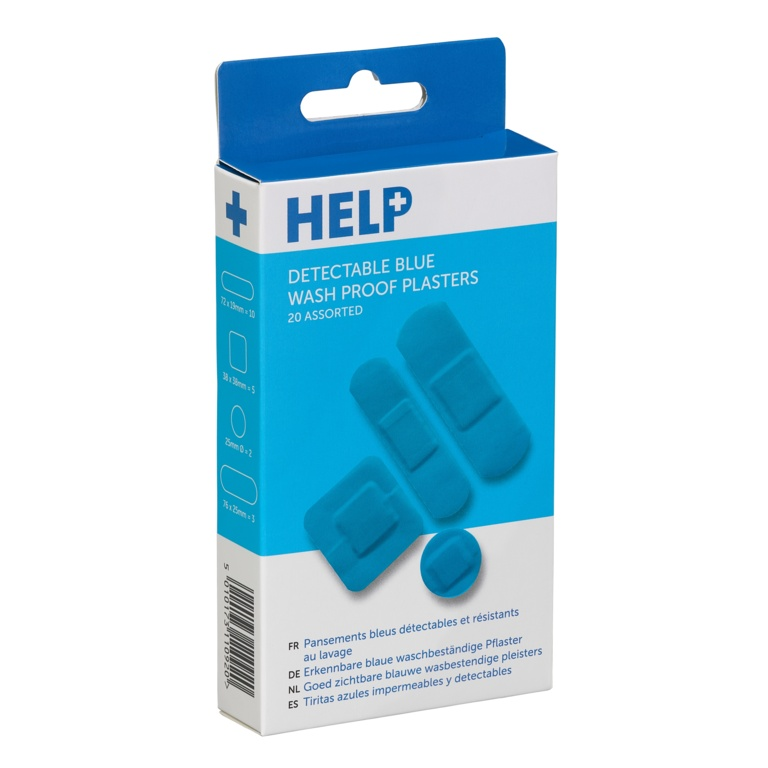 HELP Sterile Blue Waterproof Plasters - Pack 20