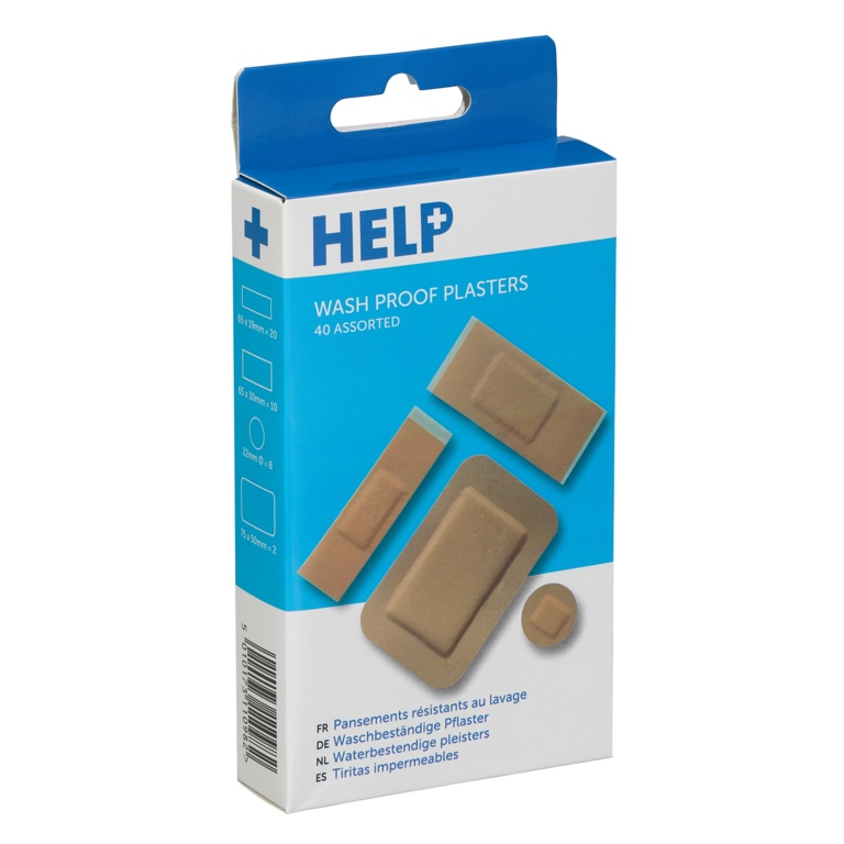 HELP Washproof Plasters Assorted - Pack 40