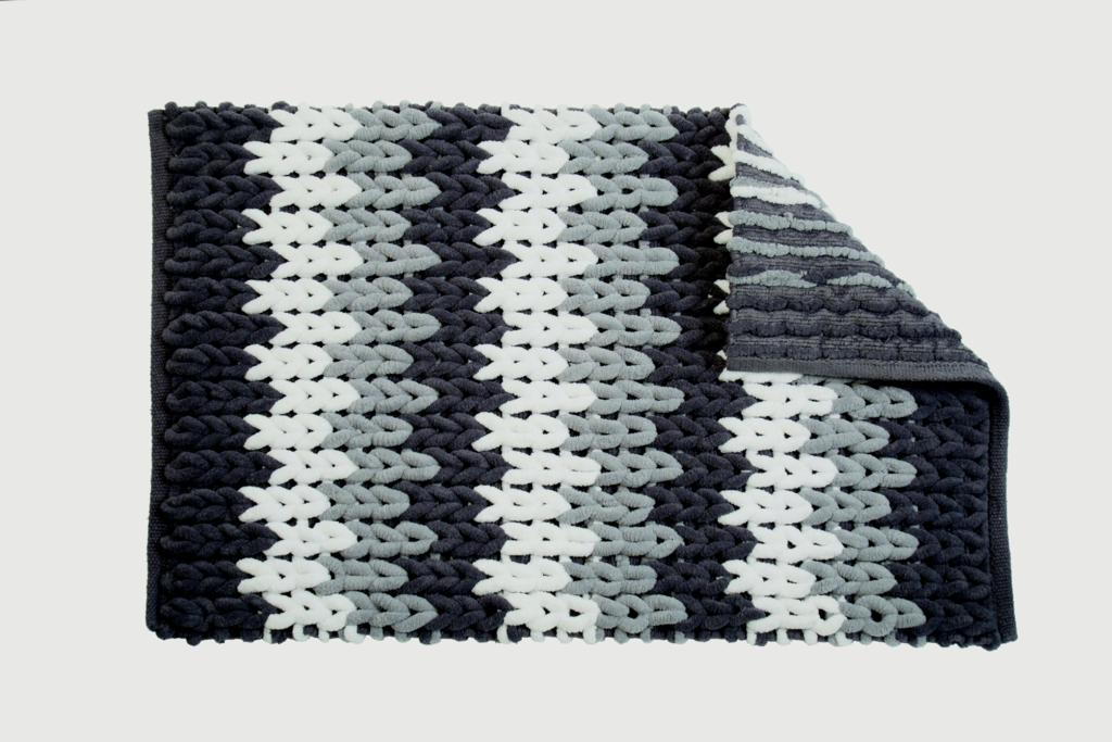 Croydex Grey & White Patterned Bathroom Mat - Patterned Textile Bath Mats/Grey White