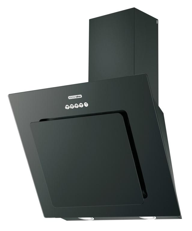 Kitchenplus Black Vertical Cooker Hood - 600mm