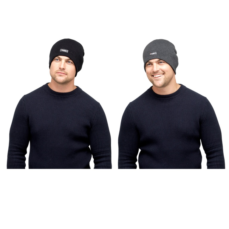 Heatguard Mens Thinsulate Beanie Hat (Without Turnup) - Black & Dark Grey