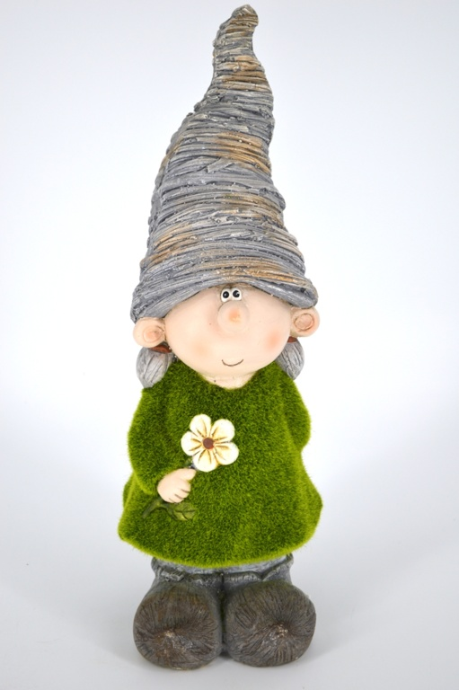 Kent Collection Flocked Girl Gnome