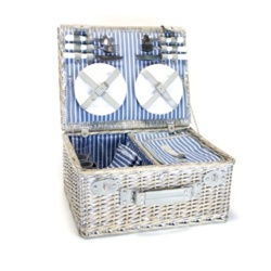 Yellowstone Wicker Picnic Basket Cooler - 4 Person