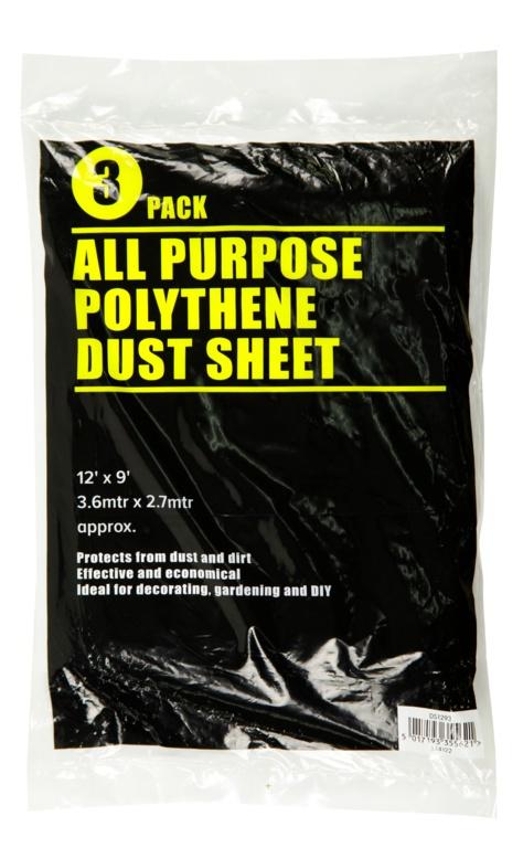 SupaDec 3 Piece Clear Dust Sheet - 12 x 9'