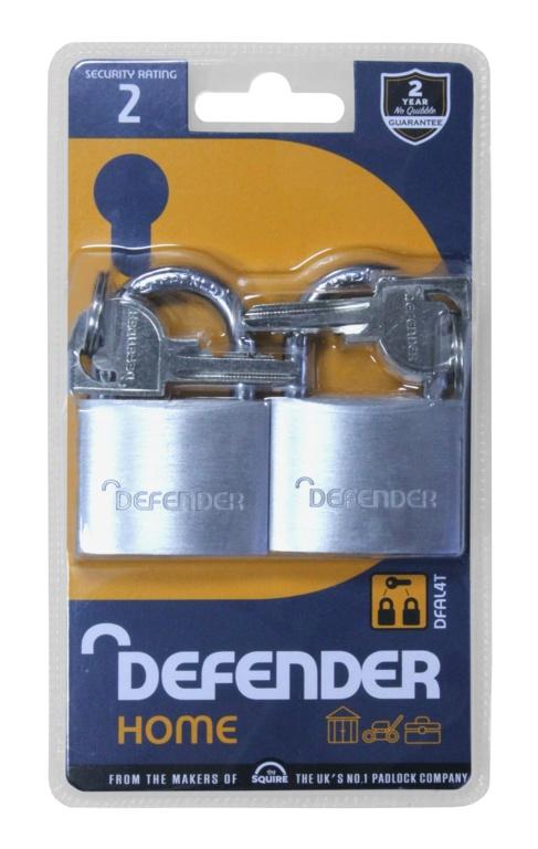 Defender Aluminium Padlock Twin Pack - 40mm