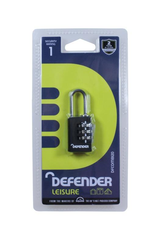 Defender Black Diecast Combi Padlock - 20mm