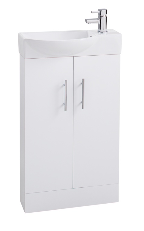 Cassellie 2 Door Mini White Unit & Basin - 500mm