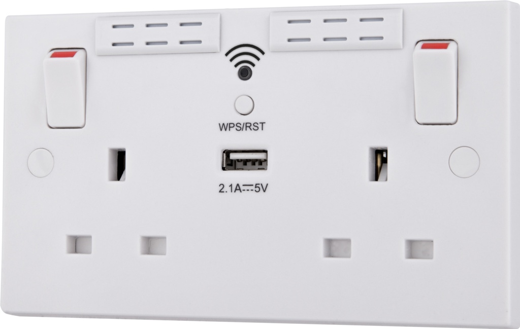 BG 2 Gang Switched Socket Wifi Extender - With USB