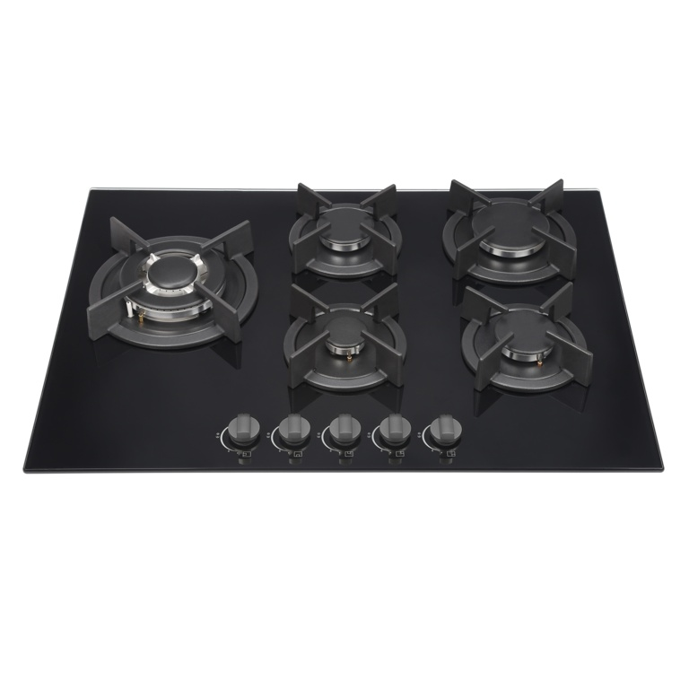 Kitchenplus Gas Burners On Black Glass Hob - 5 Burner - 700mm