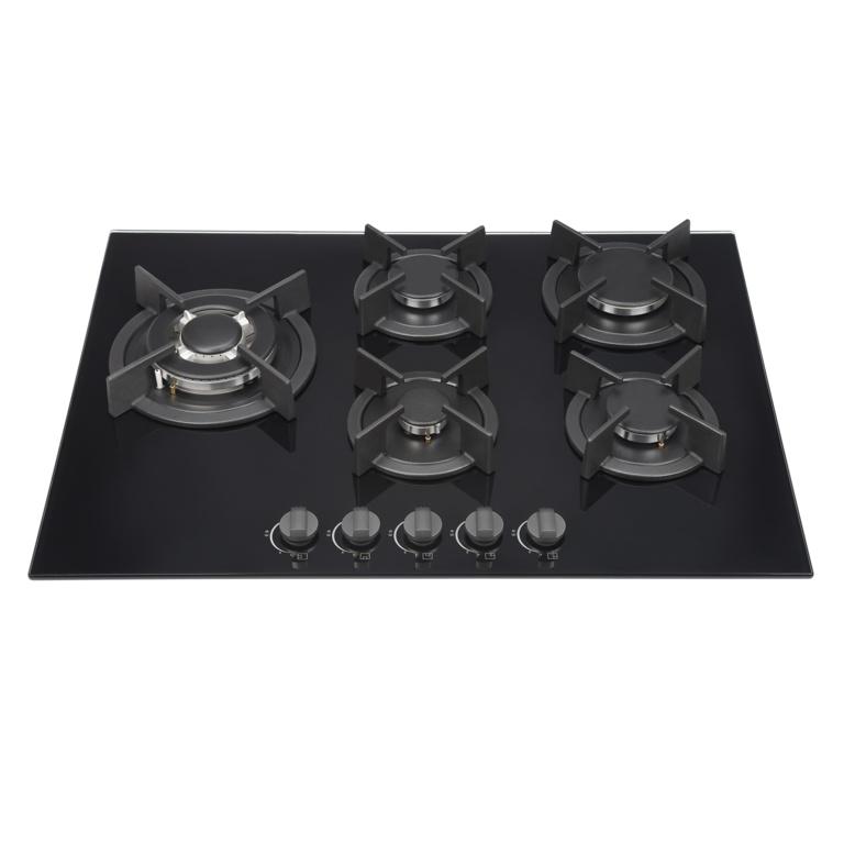 Kitchenplus Gas Burners On Black Glass Hob - 5 Burner - 700mm