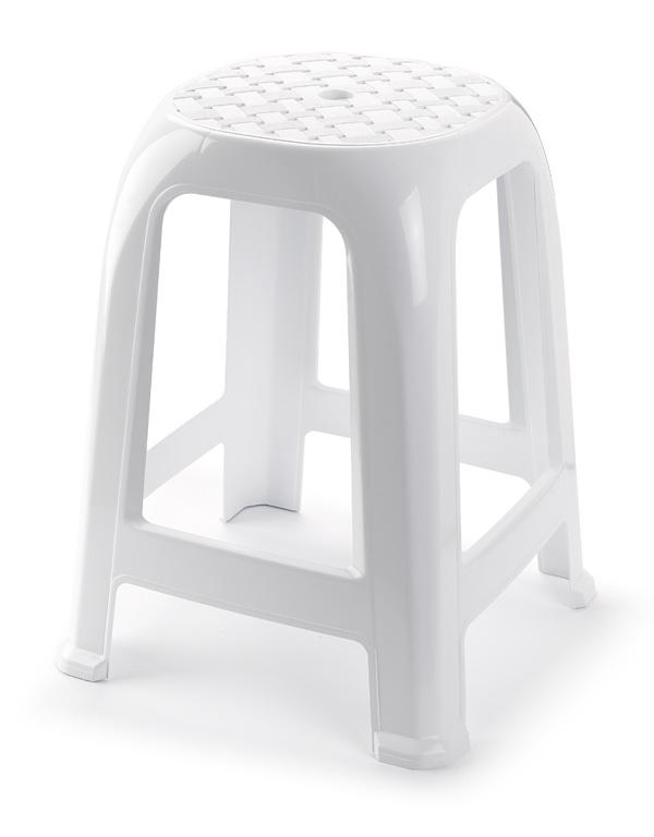 Plasticforte White Stool - 38 x 33cm