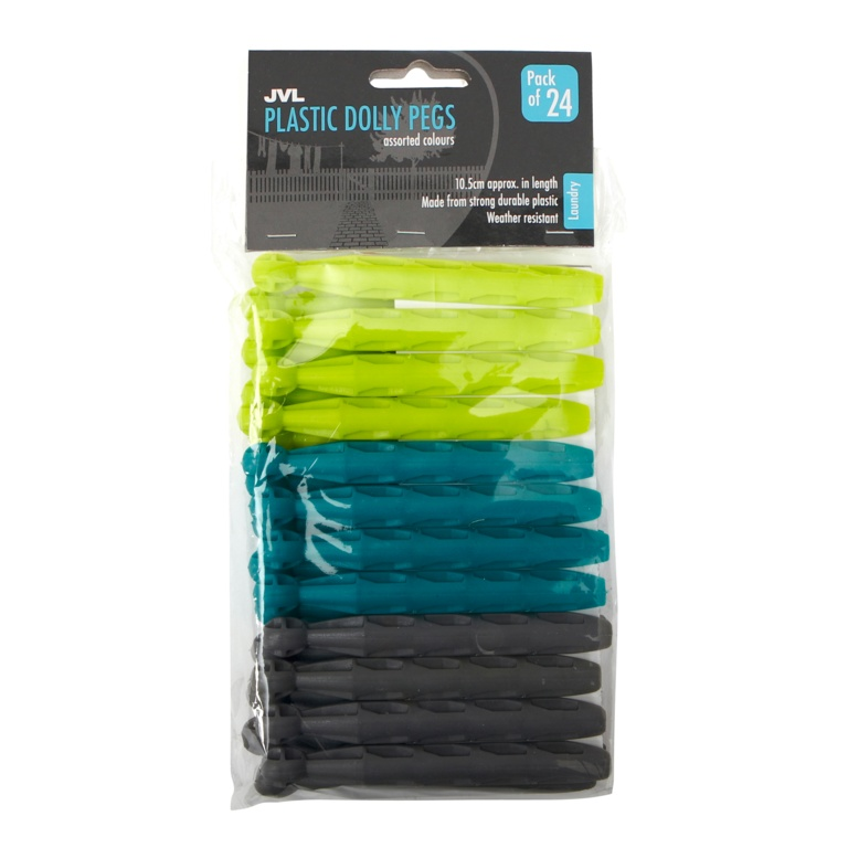 JVL 24 Pack Plastic Dolly Pegs - Turquoise/Lime/Grey