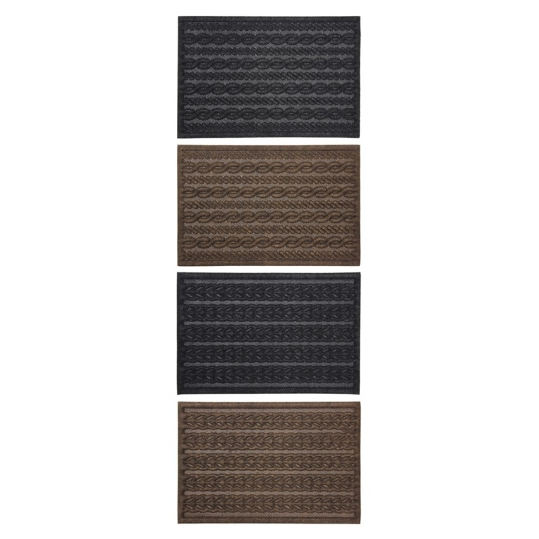 JVL Knit Indoor Mat 40x60cm - Charcoal Cable, Brown Cable, Charcoal Braided or Brown Braided