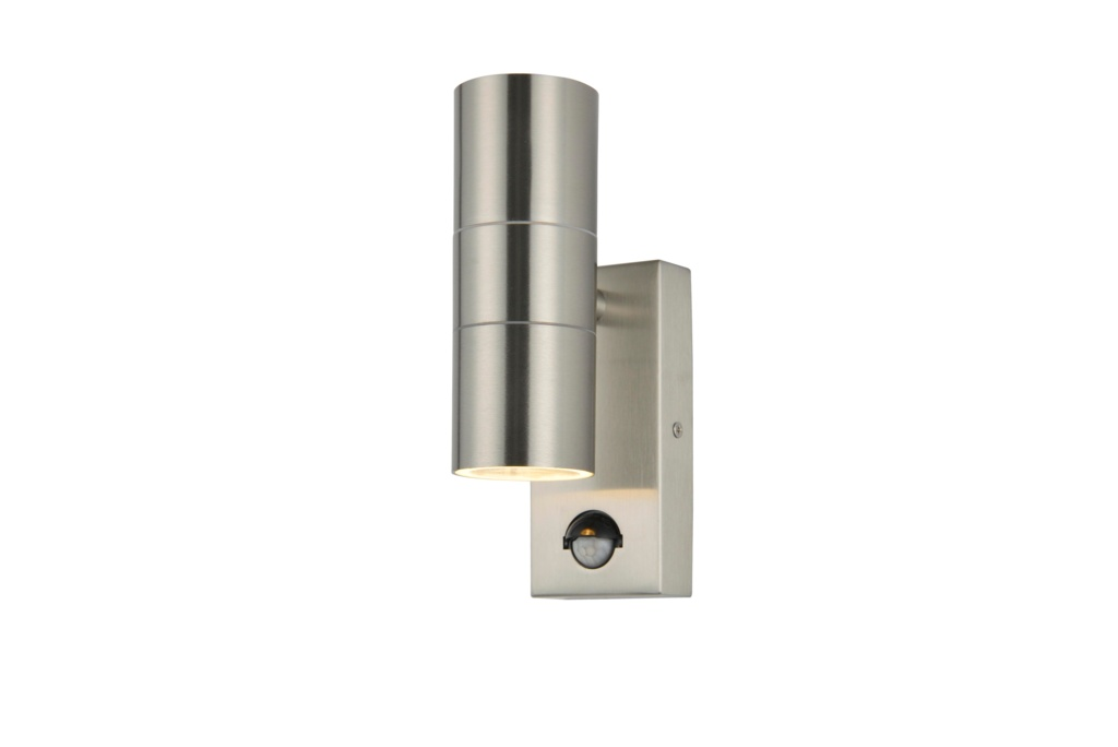 Zink Up Down Outdoor Wall Light With PIR - Stainless Steel