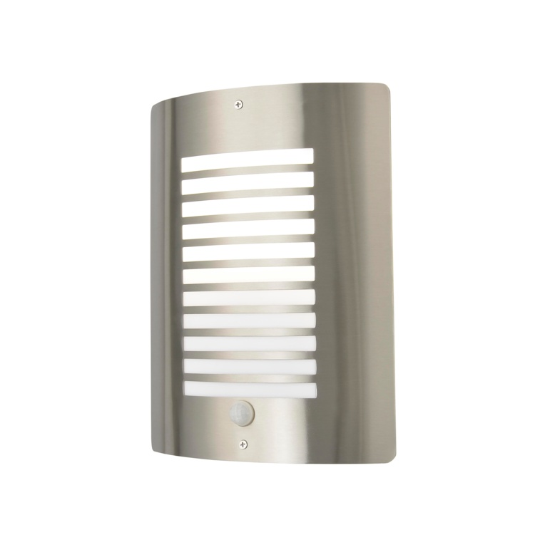 Zink Sigma Slatted Wall Light With PIR - Stainless Steel
