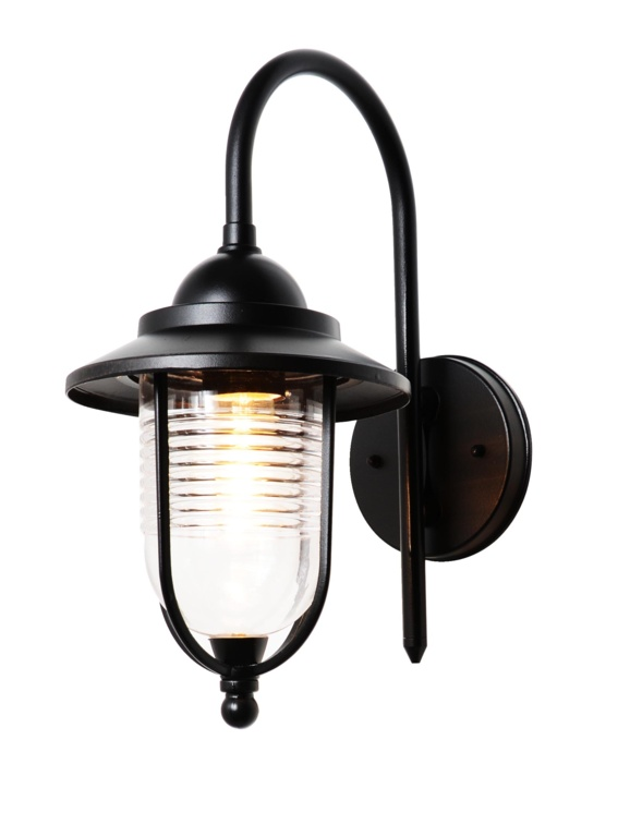 Zink Fisherman Style Wall Light - Black