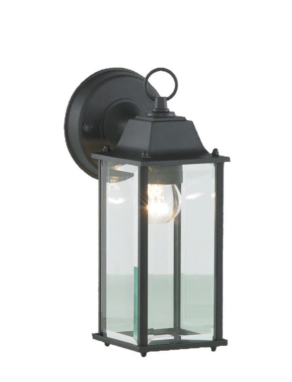 Zink Outdoor Wall Lantern with Bevelled Glass - Black