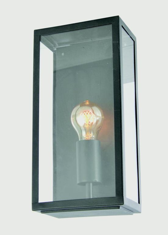 Zink Minerva Box Lantern - Black Stainless Steel & Glass