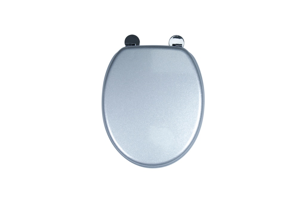 Croydex Flexi-Fix Toilet Seat - Quartz Silver