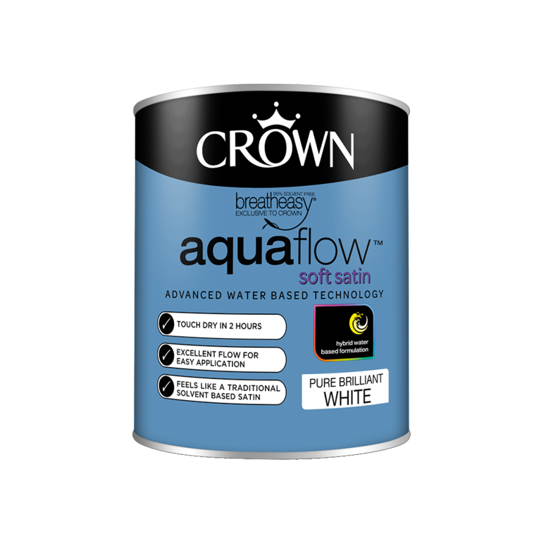 Crown Aquaflow Satin 750ml - Brilliant White