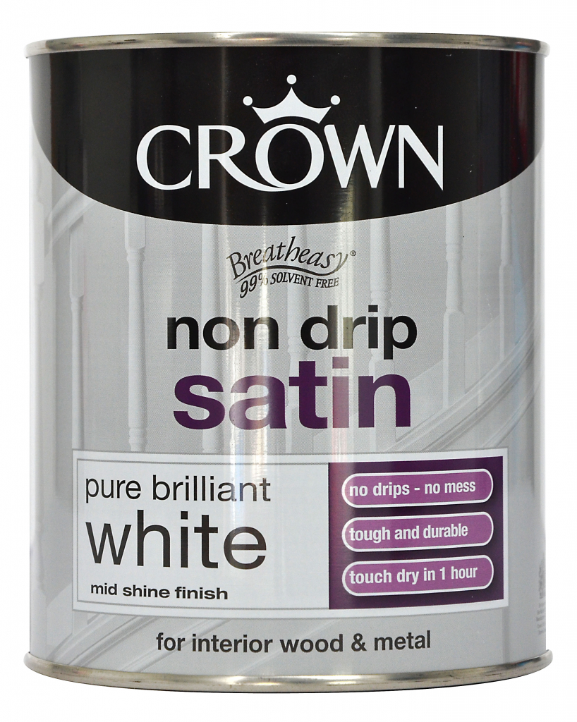 Crown Non Drip Satin 750ml - Pure Brilliant White