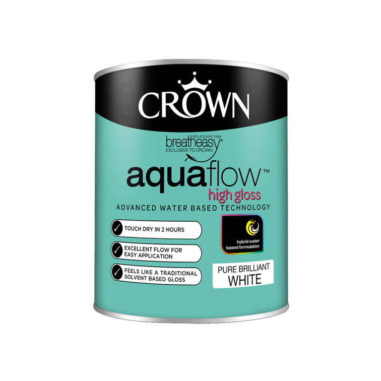 Crown Aquaflow Gloss 750ml - Pure Brilliant White